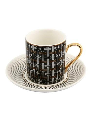 Vitale 6'Lı Porselen Kahve Fincan Seti He0044 Renkli